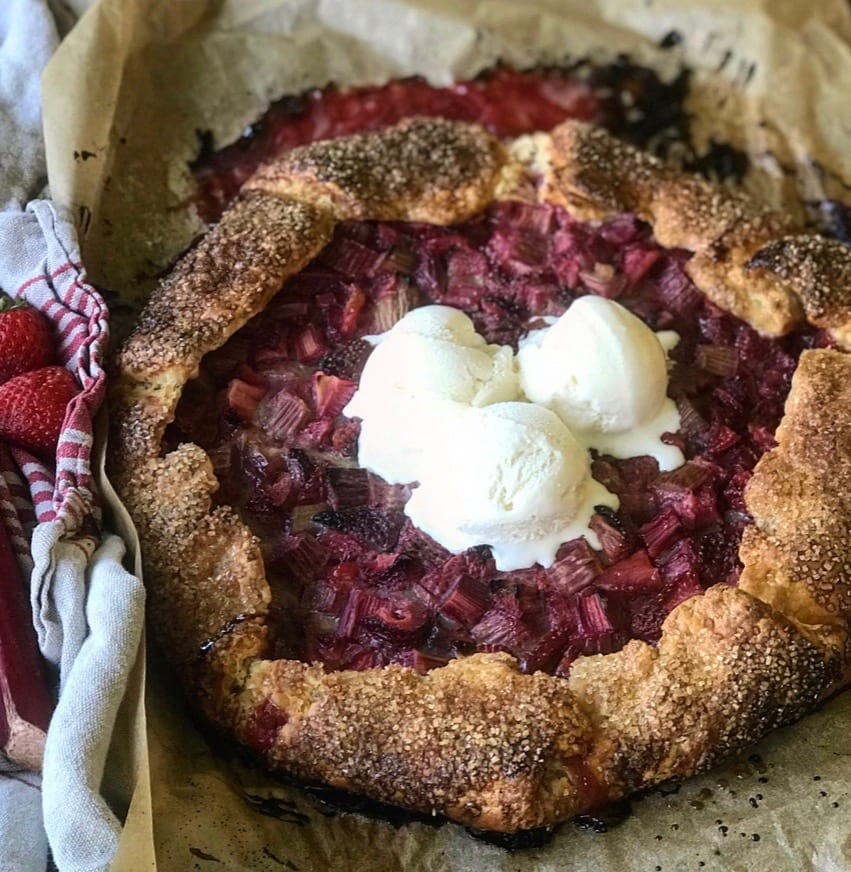 Strawberry Rhubarb Galette with a Cream Cheese Crust | Jessie Sheehan Bakes