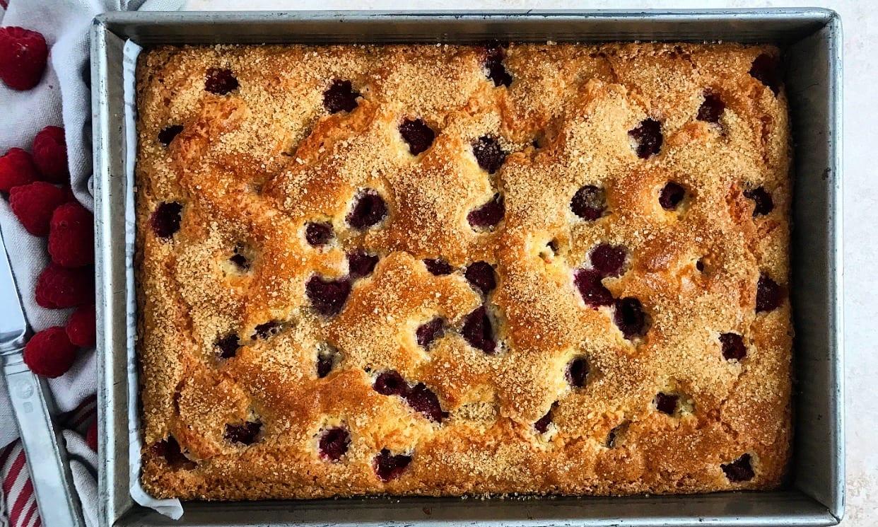 One-Bowl Raspberry Buttermilk Sheet Cake | Jessie Sheehan Bakes