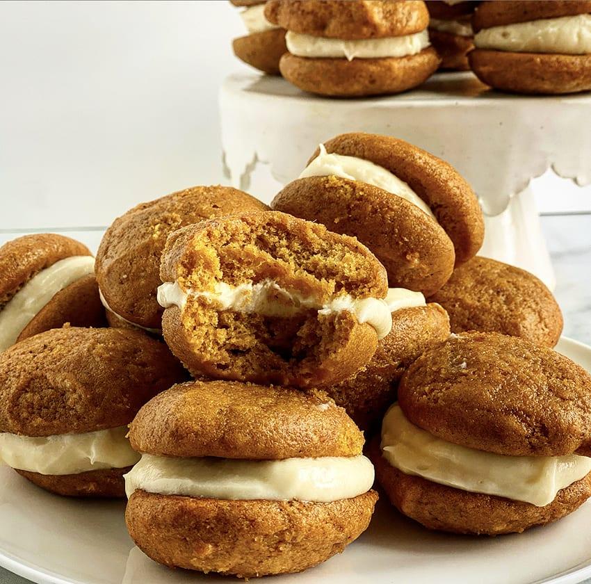 Pumpkin Whoopie Pies with Cinnamon Cream Cheese Filling Recipe   Jessie Sheehan Bakes